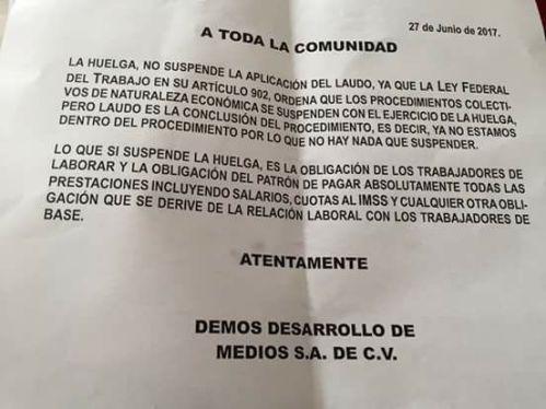 Jornada comunicado sobre huelga29jun17